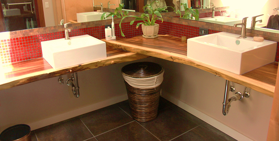 Wood slab work islands portfolio categories natural for Bathroom remodel 63367